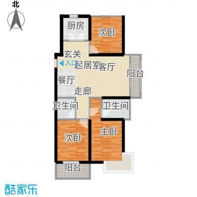 桃园丽�城124.10㎡C02A户型 三室两厅两卫户型3室2厅2卫