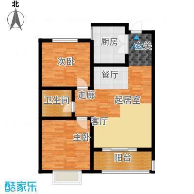 桃园丽�城88.15㎡C02B户型 两室两厅一卫户型2室2厅1卫
