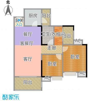 远洋启宸88.00㎡31栋03单位88平米三房两厅一卫户型3室2厅1卫