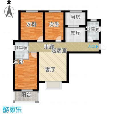 城市傲居123.78㎡户型3室2卫1厨