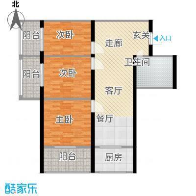 皇城西岸100.53㎡皇城西岸户型图B户型3室2厅1卫1厨户型3室2厅1卫1厨