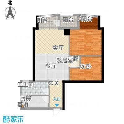 东翠花园银涛阁76.00㎡2室2厅户型2室2厅1卫1厨