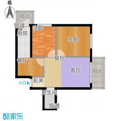 仁礼星座60.05㎡两室一厅60.05平方米户型2室1厅1卫1厨