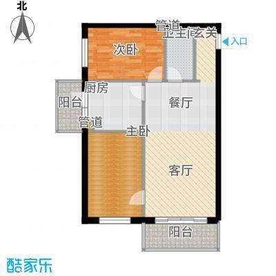 仁礼星座72.12㎡两室一厅72.12平方米户型2室1厅1卫1厨