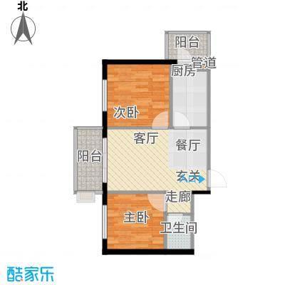 仁礼星座两室一厅51.86平方米户型2室1厅1卫1厨