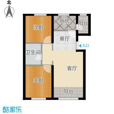 金昌国际88.44㎡J户型2室2厅1卫