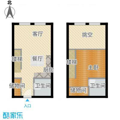 金昌国际54.67㎡CLOFT复式户型1室2厅2卫