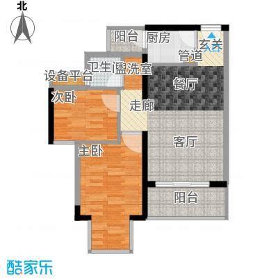 凯旋国际66.77㎡凯旋国际户型图潮流T区2室2厅1卫1厨户型2室2厅1卫1厨