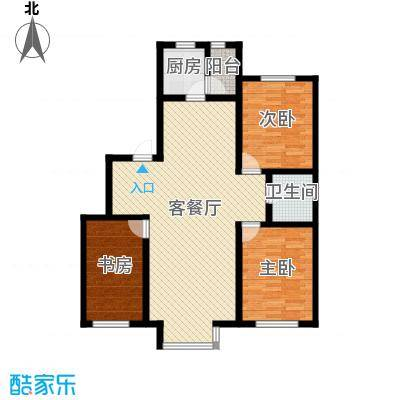 自由花园118.15㎡4号楼b户型3室1厅1卫1厨