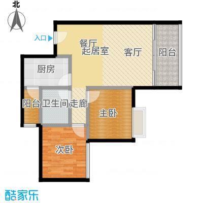 东方苑66.31㎡4号楼2-15层04单位户型2室1卫1厨