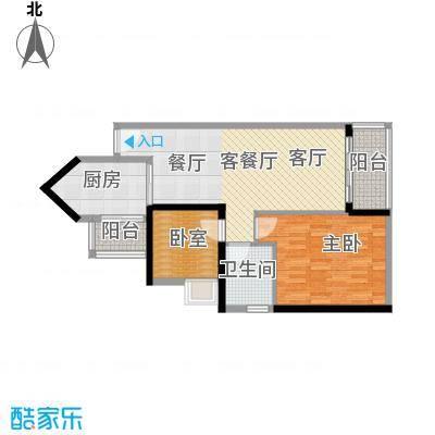 中海橡园国际82.15㎡1栋06单位户型1室1厅1卫1厨