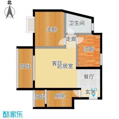 东方苑66.74㎡1号楼2-7层03单位户型2室1卫1厨