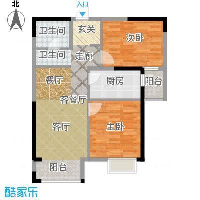 世纪祥和新园77.76㎡B21-17层户型2室2厅1卫