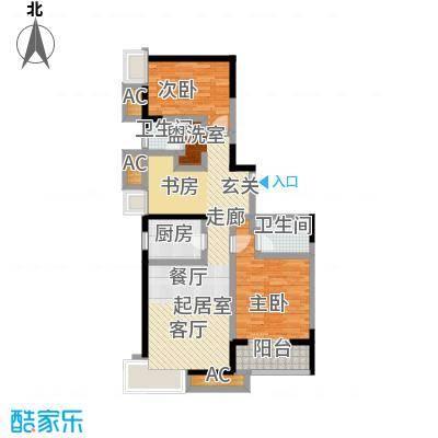 世纪祥和新园108.43㎡A1户型3-17层户型2室2厅2卫
