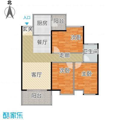 鹏达丽水湾96.00㎡9栋E户型3室2厅1卫