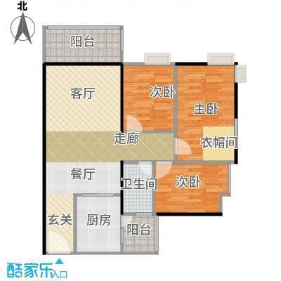 鹏达丽水湾91.00㎡9栋F户型3室2厅1卫