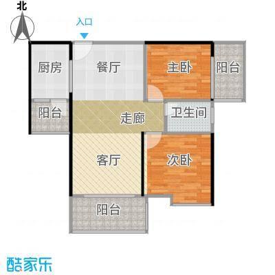 鹏达丽水湾78.00㎡9栋C户型2室2厅1卫