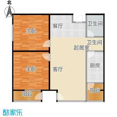 炫彩SOHO104.77㎡A1B1两室两厅一卫户型2室2厅1卫