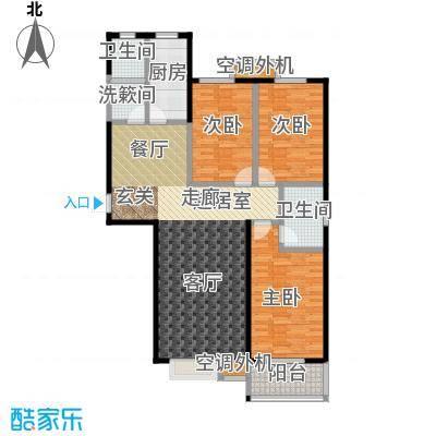 上湖名郡128.02㎡三室两厅两卫128.02平米户型3室2厅2卫