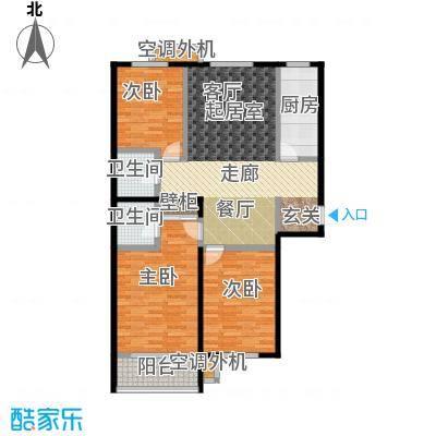 上湖名郡126.35㎡三室两厅两卫户型3室2厅2卫