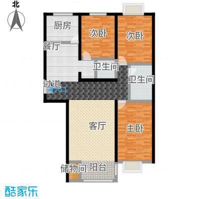 千家和泰・欣家园131.79㎡E户型3室2厅2卫