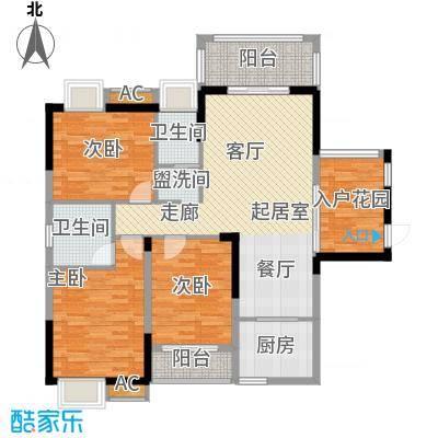 善德山庄119.37㎡B户型三室两厅两卫户型3室2厅2卫