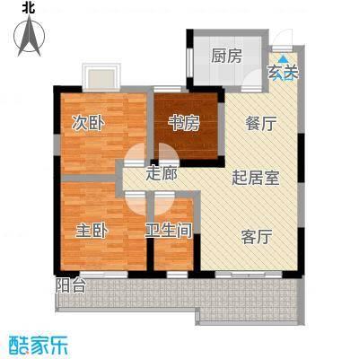 东方丽都89.60㎡D型三室两厅一卫户型