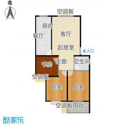 滨海花园97.65㎡C户型 三室一厅一卫户型3室1厅1卫