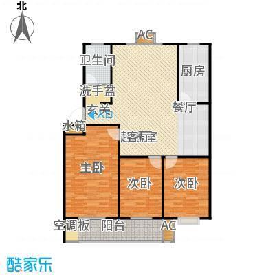 滨海花园132.35㎡D户型 三室两厅一卫户型3室2厅1卫