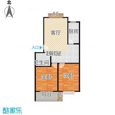 滨海花园88.69㎡9# B 户型 两室一厅一卫户型2室1厅1卫