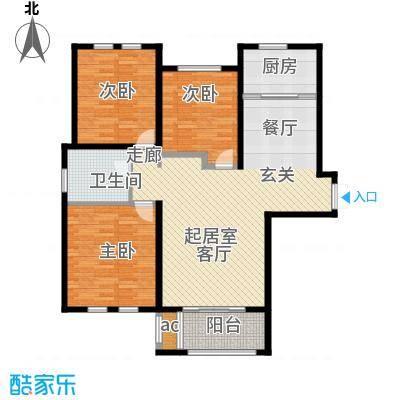 中央景城116.00㎡四期B户型3室2厅2卫