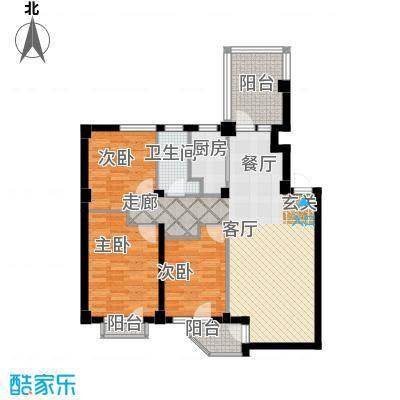 龙腾碧玉湾104.66㎡三室二厅一卫户型