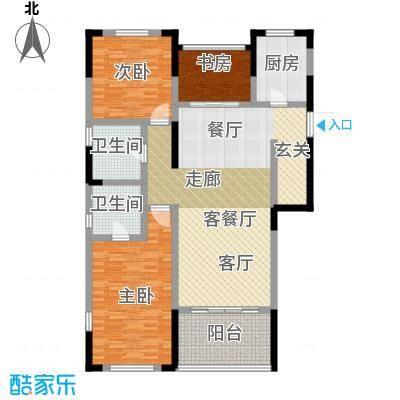 华新城128.00㎡A户型3室1厅2卫1厨