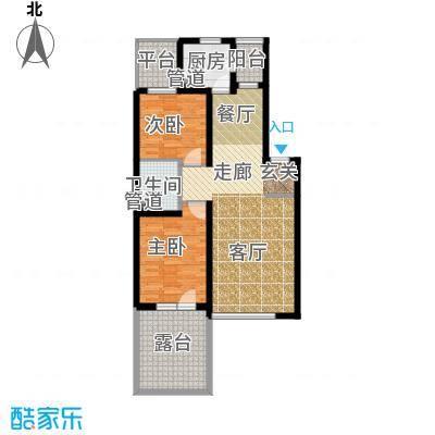 龙腾碧玉湾84.77㎡二室二厅一卫户型
