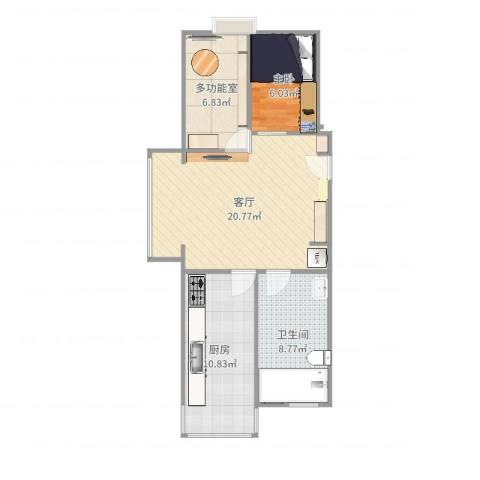剑桥丽苑1室1厅1卫1厨67.00㎡户型图