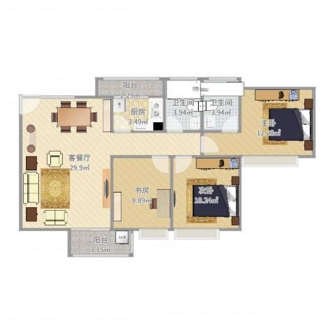 宝翠苑3室2厅2卫1厨98.00㎡户型图