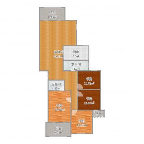 文化名园4室2厅2卫1厨160.00㎡户型图