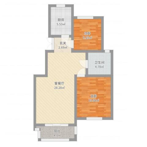 兆盛金色华庭2室2厅1卫1厨80.00㎡户型图