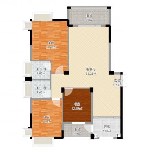 格林公馆3室2厅2卫1厨166.00㎡户型图