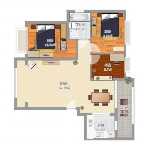 秋谷月半弯4栋21033室2厅1卫1厨91.00㎡户型图