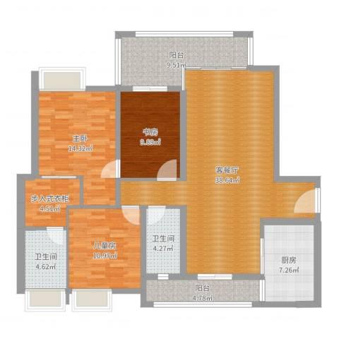 天誉花园3室2厅2卫1厨136.00㎡户型图