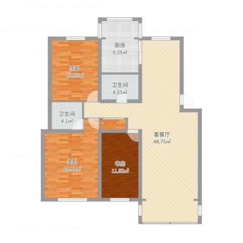 我的家园3室2厅2卫1厨139.00㎡户型图