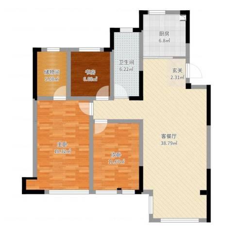 五矿・铂海岸3室2厅1卫1厨117.00㎡户型图