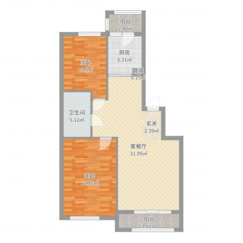 君悦国际城2室2厅1卫1厨95.00㎡户型图