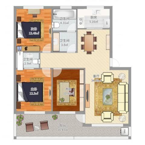 新世纪花园3室1厅3卫1厨129.00㎡户型图