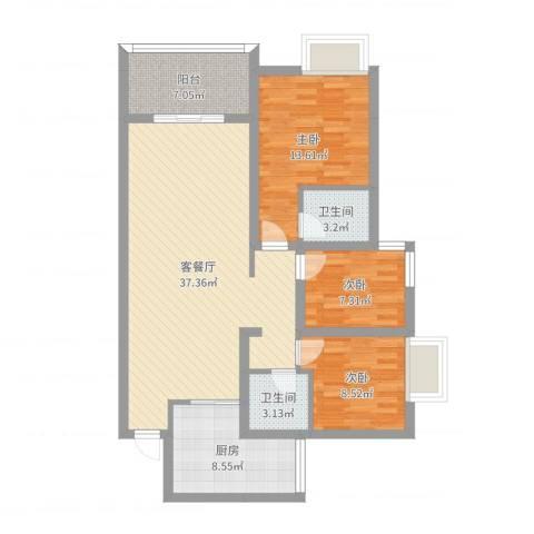 鲁能星城十二街区1#楼1单元3#3室2厅2卫1厨111.00㎡户型图