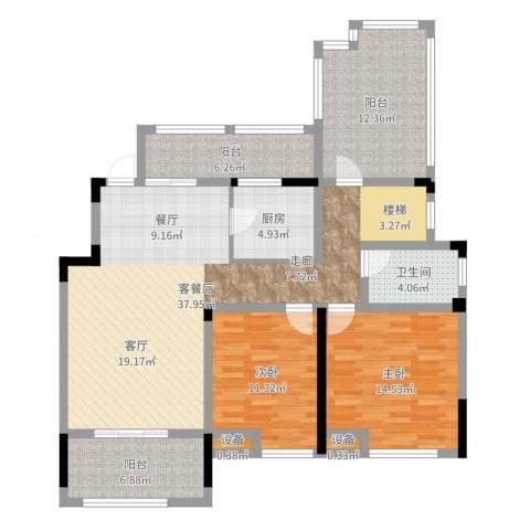 宝能城市广场2室2厅1卫1厨124.00㎡户型图