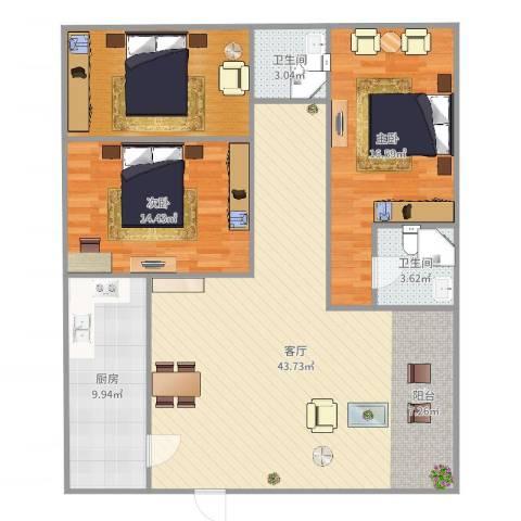 万丰新园2室1厅2卫1厨110.00㎡户型图