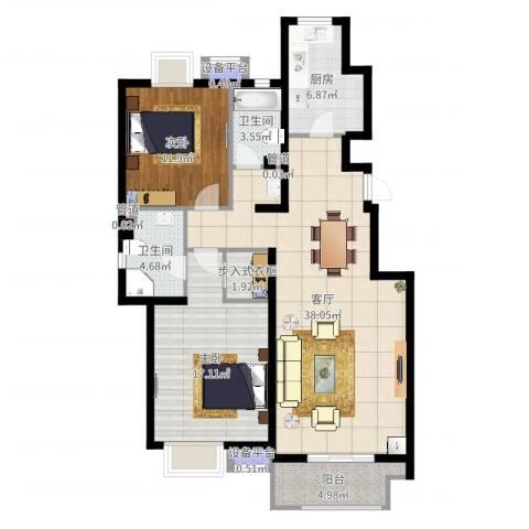 金隅悦城2室1厅2卫1厨113.00㎡户型图