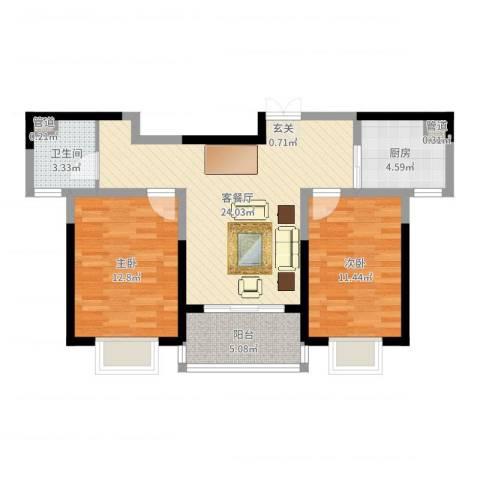 黄山湖公馆2室2厅1卫1厨77.00㎡户型图